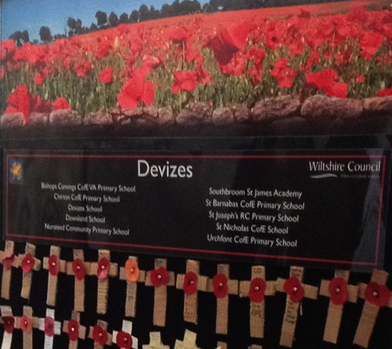 Remembrance Wall in St. Mary's Church, Devizes