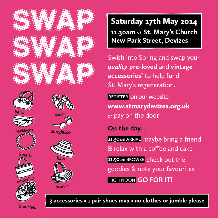 17th May 2014 11.30am - accessories swap at st. Mary's Church Devizes