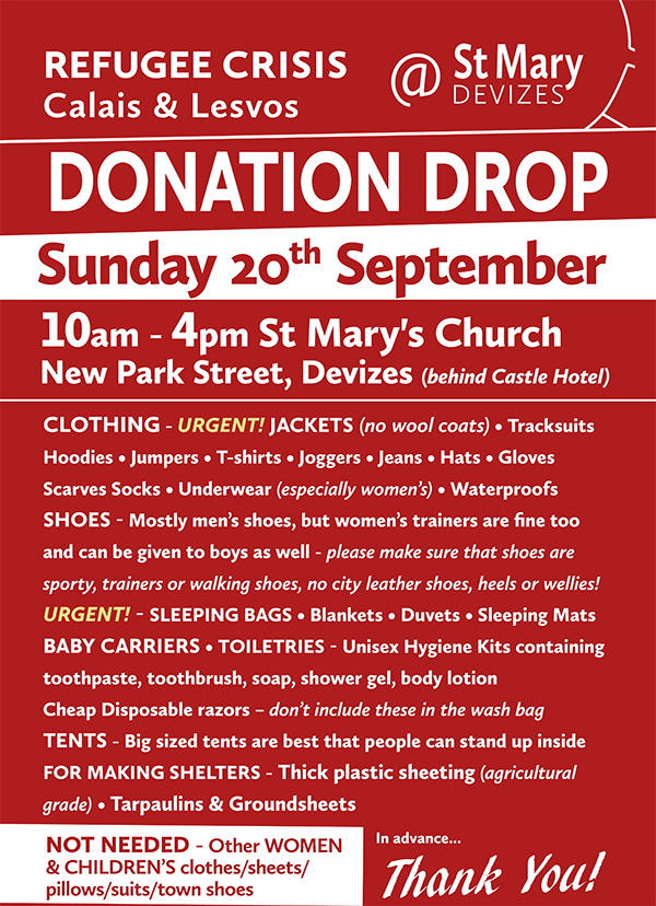 St. Mary Devizes Refugee Donation Drop